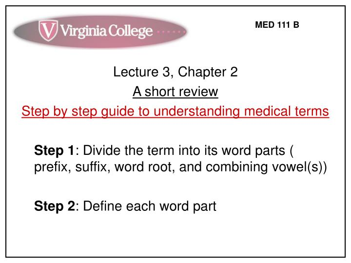 Lecture 3, Chapter 2