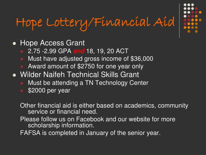 Hope Lottery/Financial Aid