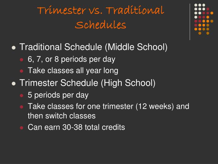 Trimester vs. Traditional Schedules