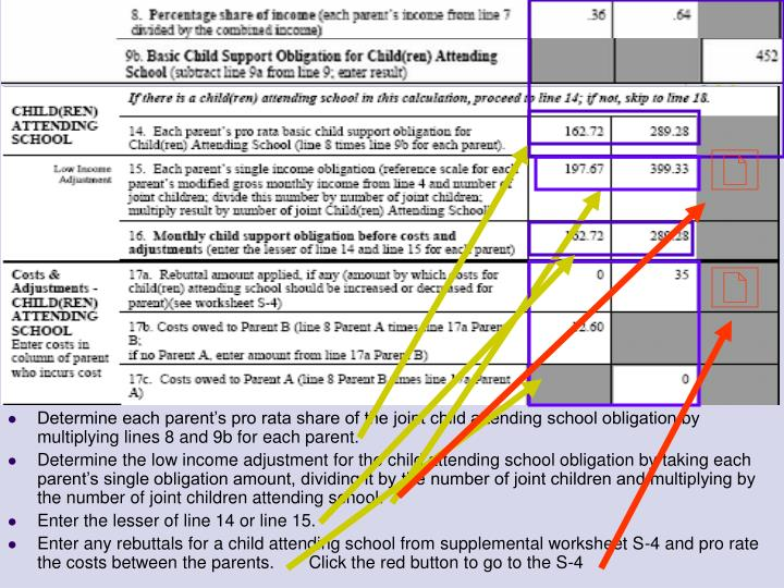 Determine each parent's pro rata share of the joint child attending school obligation by multiplying lines 8 and 9b for each parent.
