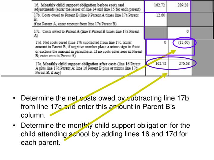 Determine the net costs owed by subtracting line 17b from line 17c and enter this amount in Parent B's column.