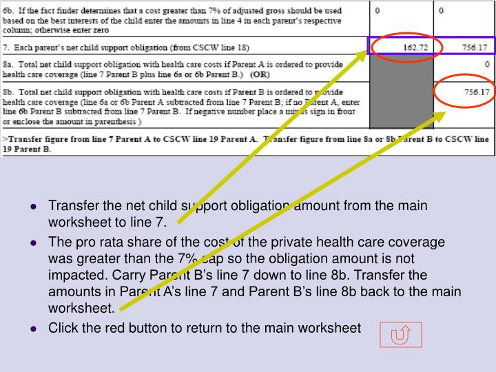 Transfer the net child support obligation amount from the main worksheet to line 7.