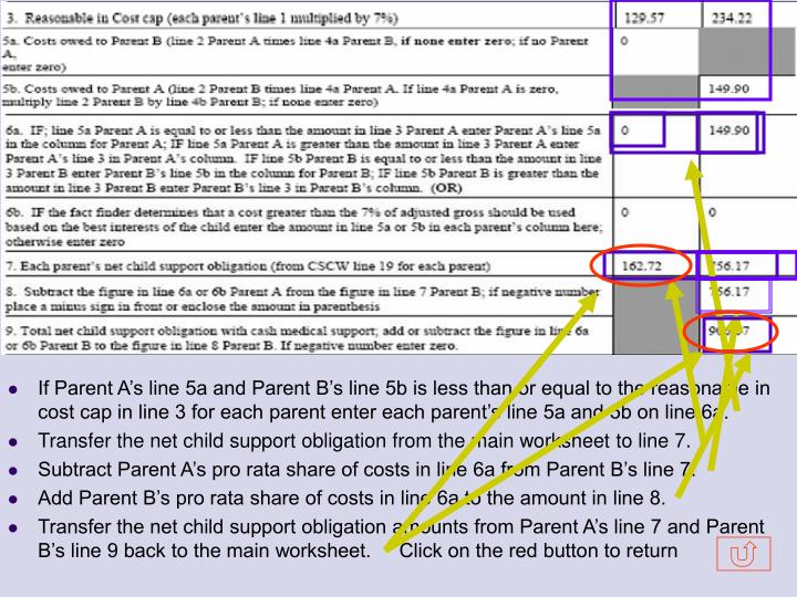 If Parent A's line 5a and Parent B's line 5b is less than or equal to the reasonable in cost cap in line 3 for each parent enter each parent's line 5a and 5b on line 6a.