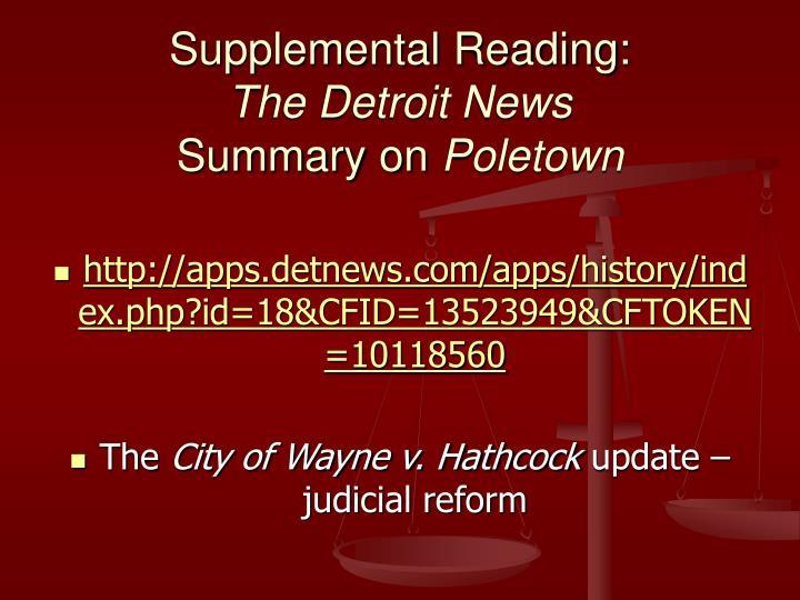 Supplemental Reading: