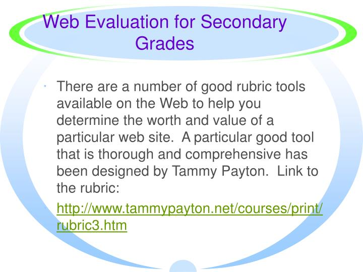 Web Evaluation for Secondary Grades