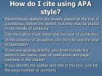 how do i cite using apa style