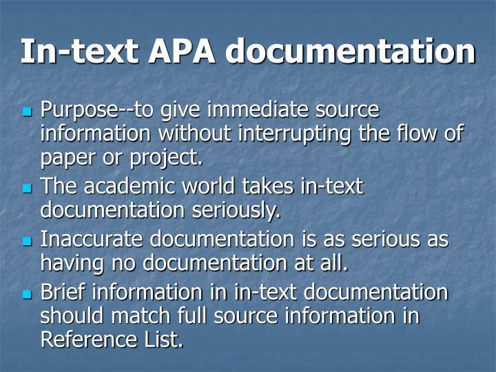In-text APA documentation