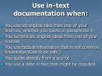use in text documentation when