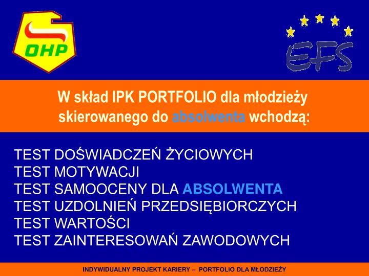 W skład IPK PORTFOLIO dla młodzieży