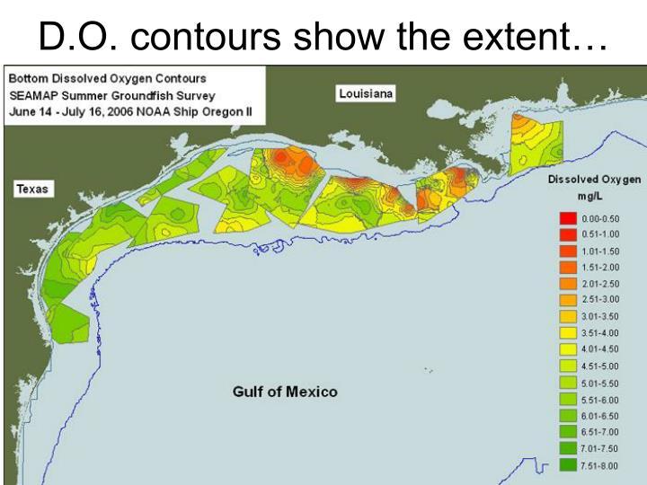D.O. contours show the extent…