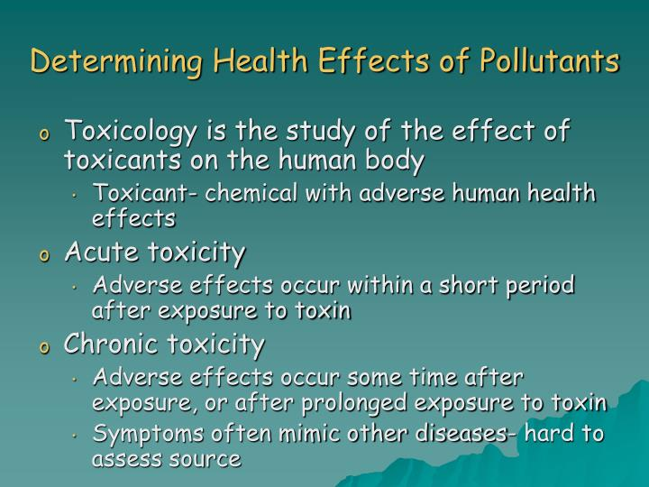 Determining Health Effects of Pollutants