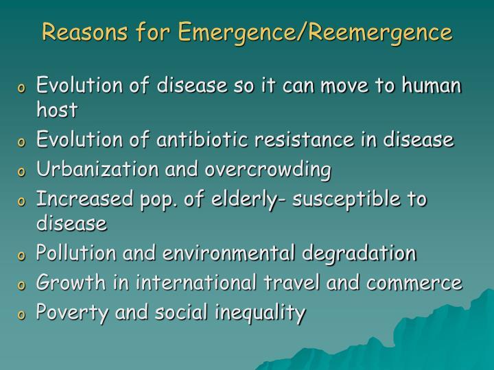 Reasons for Emergence/Reemergence
