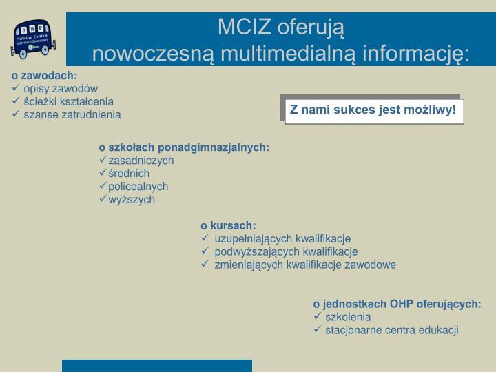 MCIZ oferują