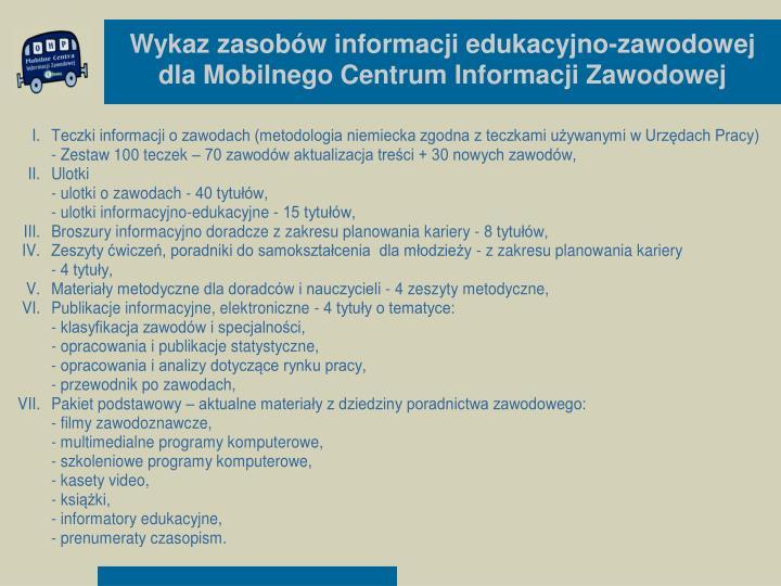 Wykaz zasobów informacji edukacyjno-zawodowej