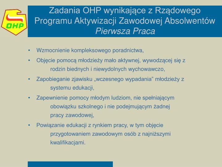 Zadania OHP wynikające z Rządowego Programu Aktywizacji Zawodowej Absolwentów