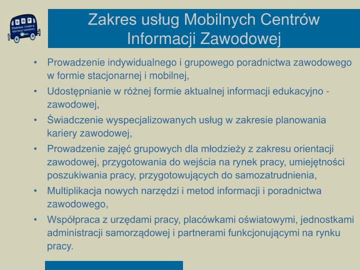 Zakres usług Mobilnych Centrów