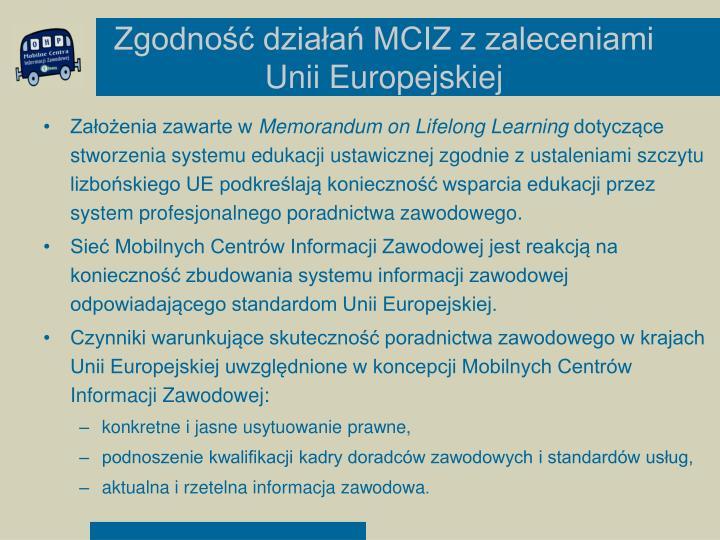Zgodność działań MCIZ z zaleceniami Unii Europejskiej