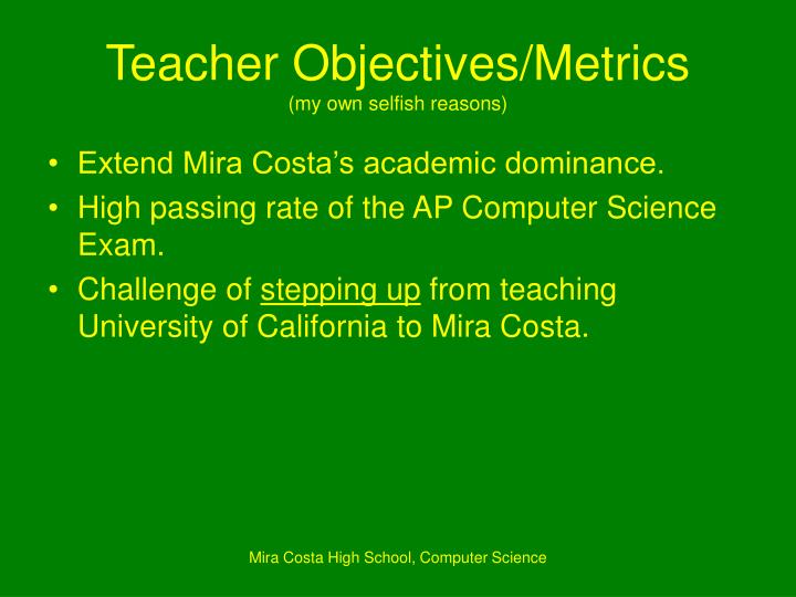 Teacher Objectives/Metrics