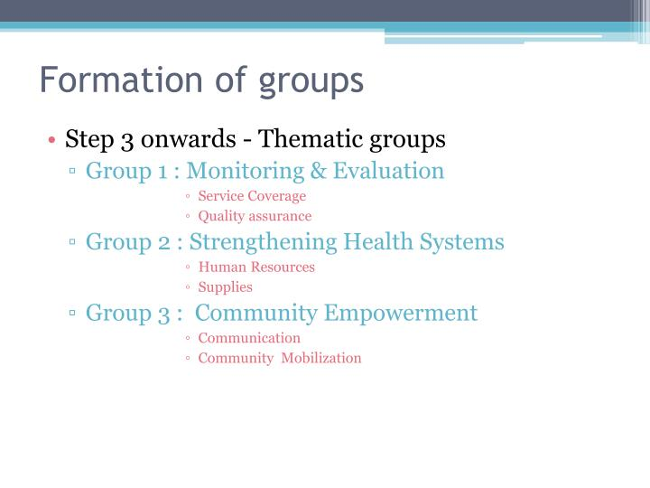 Formation of groups