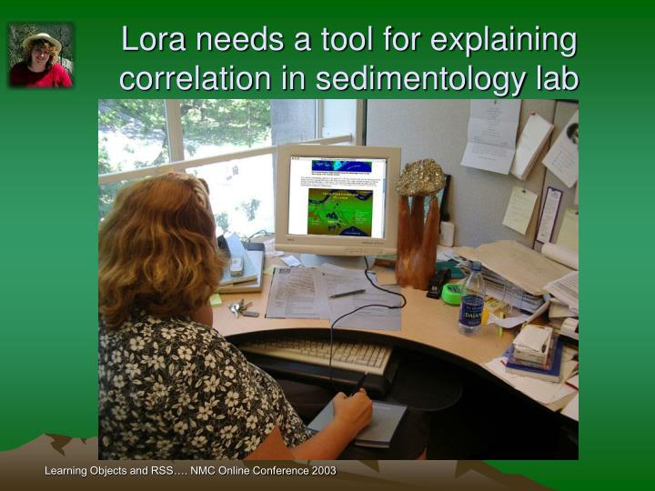 Lora needs a tool for explaining correlation in sedimentology lab