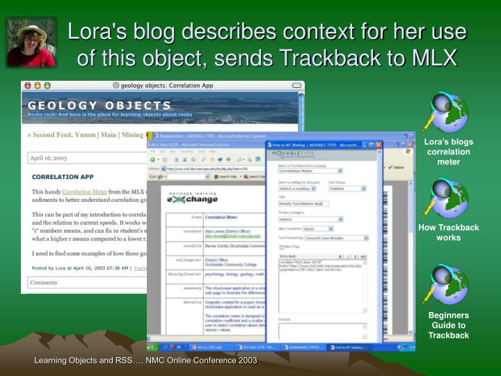 Lora's blog describes context for her use of this object, sends Trackback to MLX