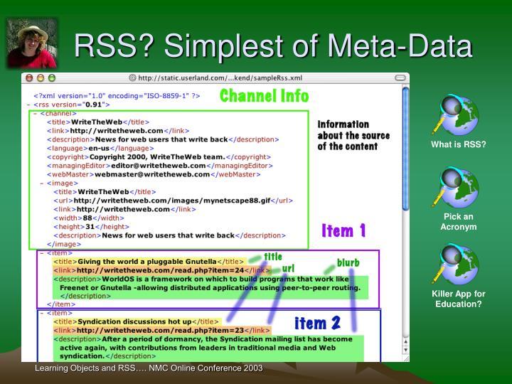 RSS? Simplest of Meta-Data