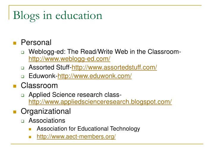 Blogs in education