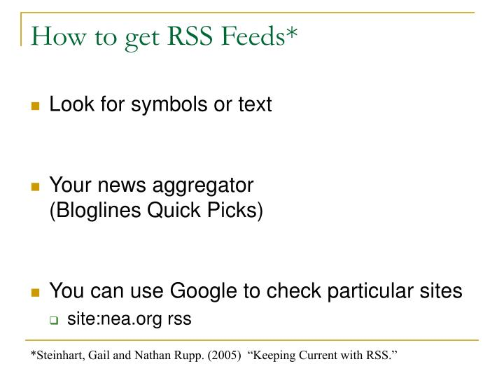 How to get RSS Feeds*