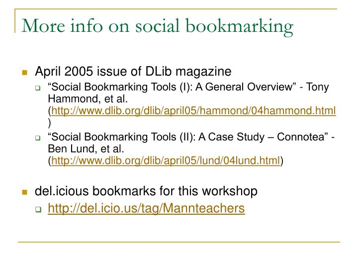 More info on social bookmarking