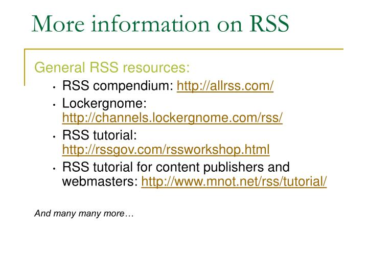 More information on RSS