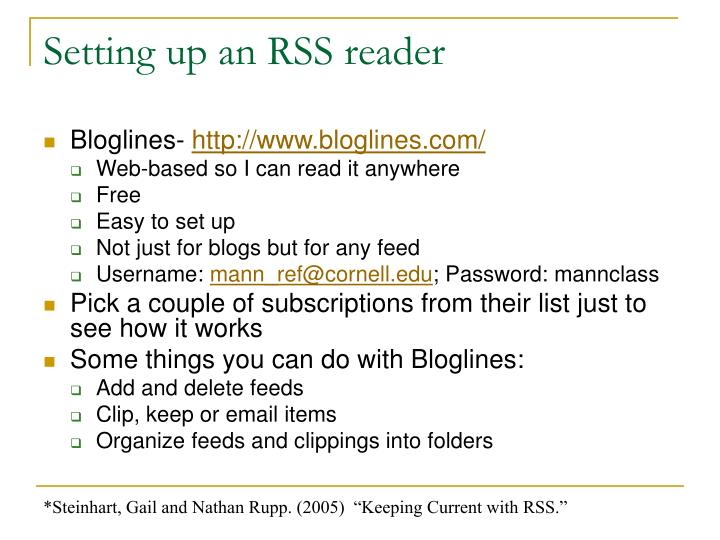 Setting up an RSS reader