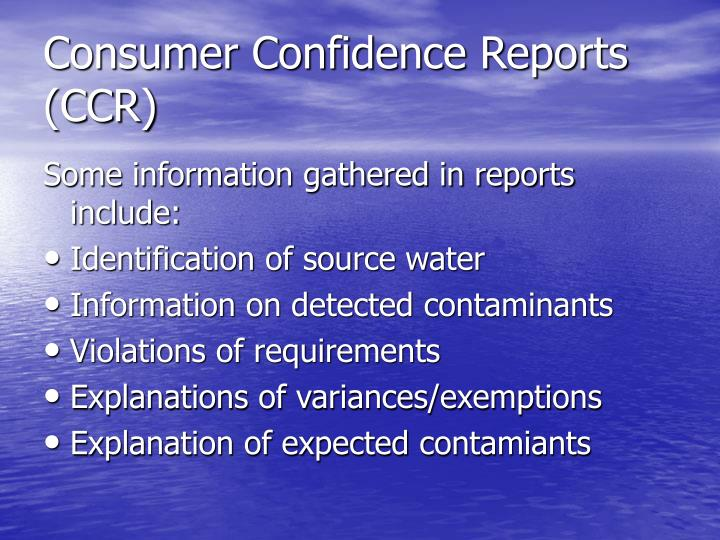 Consumer Confidence Reports (CCR)