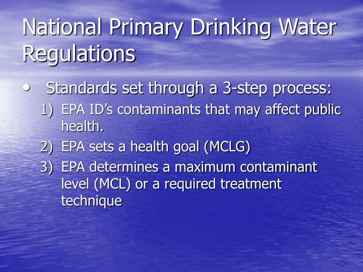 National Primary Drinking Water Regulations