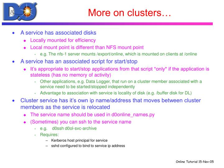More on clusters…
