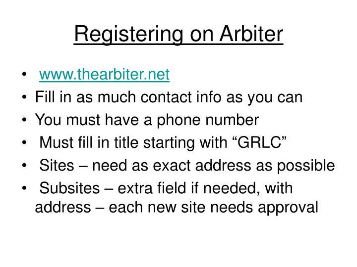 Registering on Arbiter