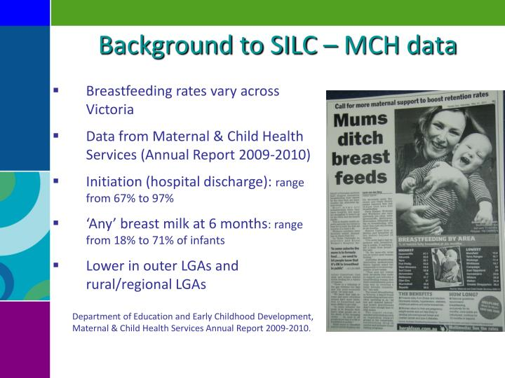 Background to SILC – MCH data