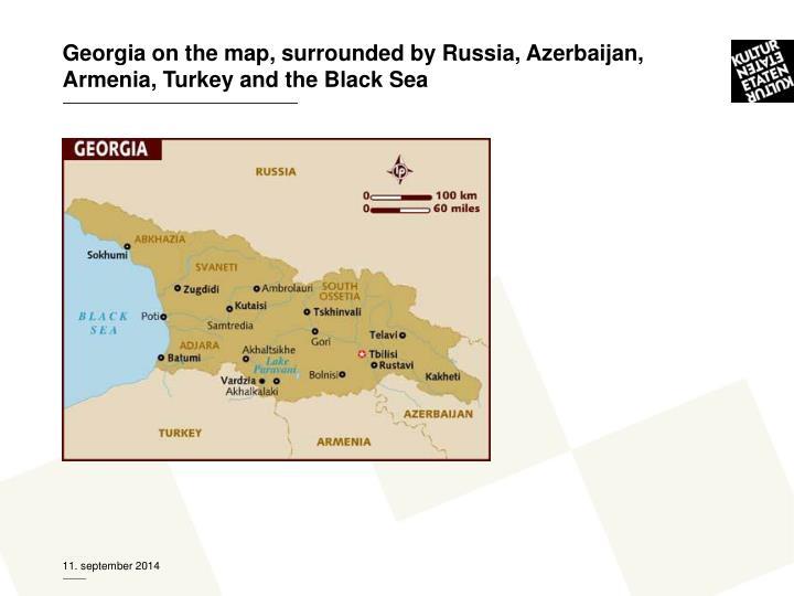 Georgia on the map, surrounded by Russia, Azerbaijan, Armenia, Turkey and the Black Sea