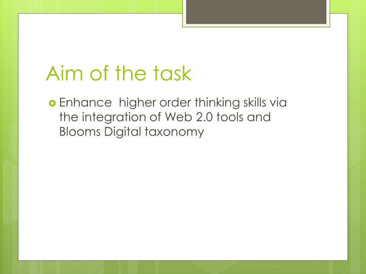Aim of the task