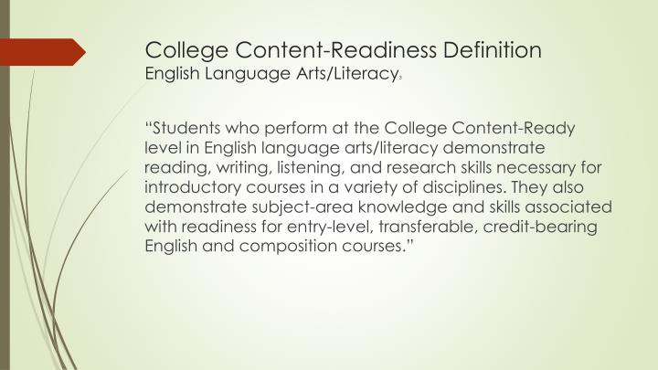 College Content-Readiness Definition