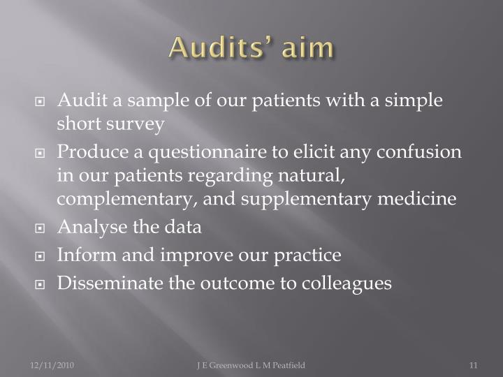 Audits' aim