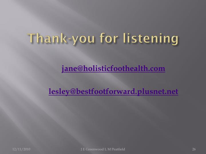 Thank-you for listening