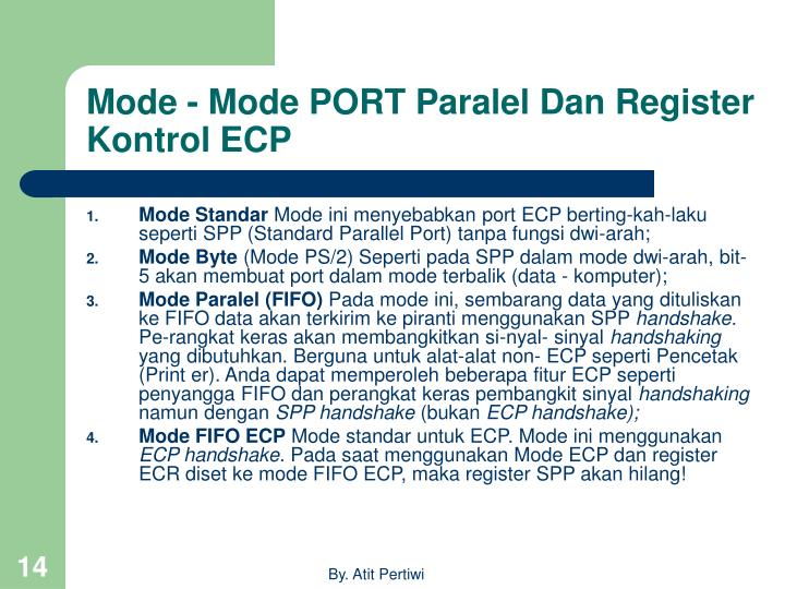 Mode - Mode PORT Paralel Dan Register Kontrol ECP