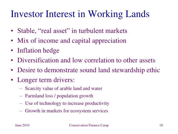 Investor Interest in Working Lands