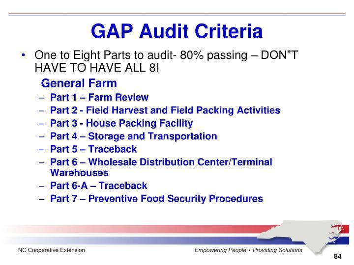 GAP Audit Criteria