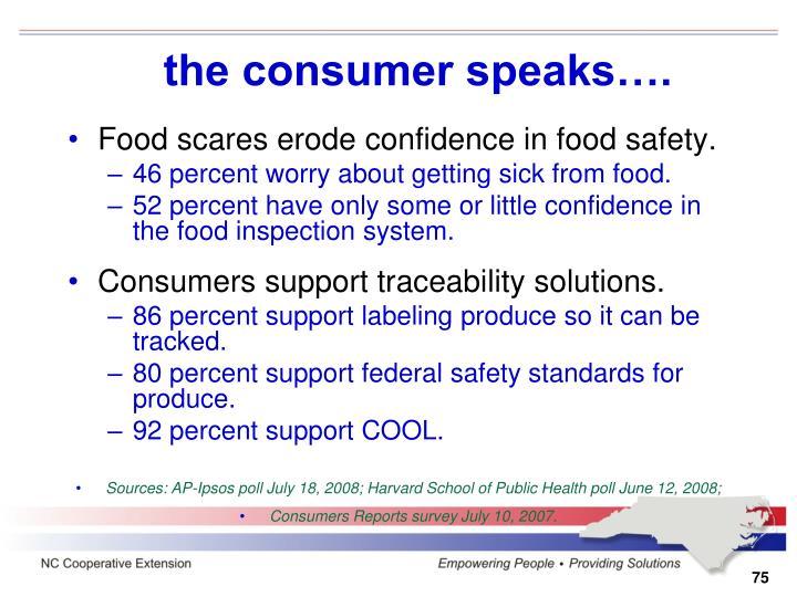 the consumer speaks….