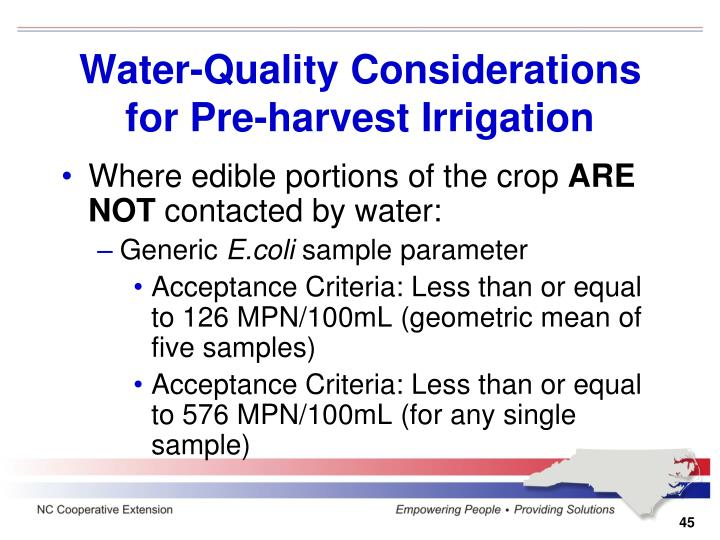 Water-Quality Considerations for Pre-harvest Irrigation