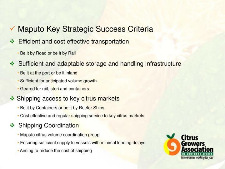 Maputo Key Strategic Success Criteria