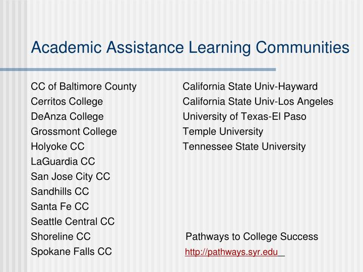 Academic Assistance Learning Communities