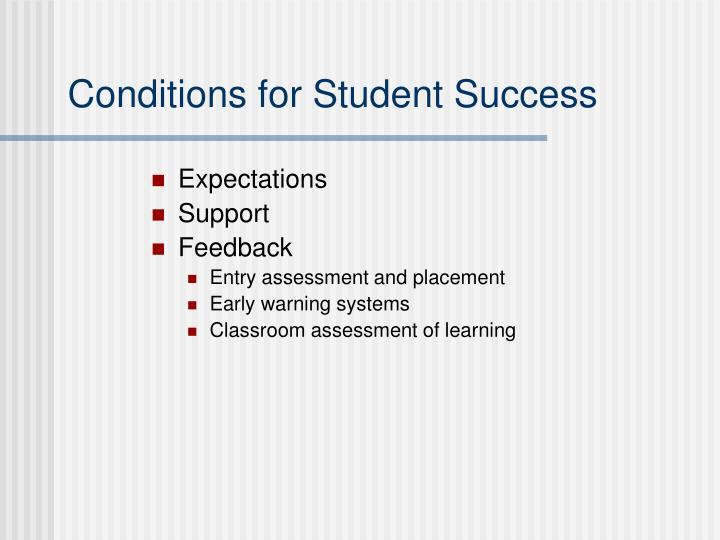 Conditions for Student Success