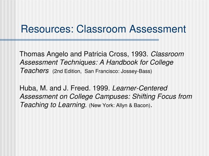 Resources: Classroom Assessment